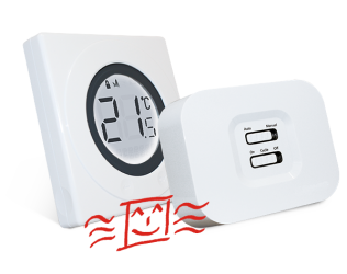 funk thermostat set mit touch ring st320rf 98 50 infrarotheizungen infraheat. Black Bedroom Furniture Sets. Home Design Ideas